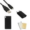 Indulócsomag, Sony Xperia XA, fekete szilikon tokkal