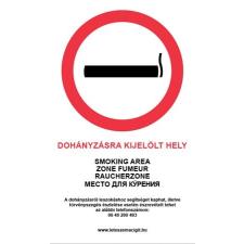 """. Információs matrica, 4 nyelven, """"Dohányzásra kijelölt hely"""" munkaruha"""