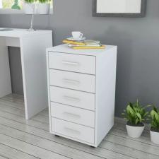 irodai szekrény 5 fiókkal és görgőkkel fehér irodabútor