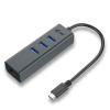 iTec i-tec USB C Metal 3 port HUB Gigabit Ethernet 1x USB C to RJ-45 3x USB 3.0 LED