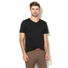 Jack Jones Jack&Jones, Slim fit V-nyakú póló, Fekete, L (12136713-BLACK-L)