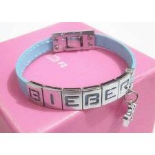 Justin Bieber világoskék bőr karkötő karkötő