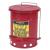 Justrite Fém szemetes kosár gyúlékony és veszélyes anyagokra, térfogata 23 l, piros%