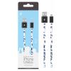 Kábel: OnePlus P5742 iPhone 5 5S SE 6 6S 6 Plus 7 7 Plus kék állatmintás adatkábel fekete fém csatlakozóval