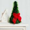Karácsonyi, asztali műfenyő - zöld - 2 piros masnival - 26 cm