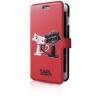 Karl Lagerfeld iPhone 6/6S Choupette In Love oldalra nyíló tok, piros