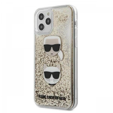 Karl Lagerfeld KLHCP12MKCGLGO iPhone 12 Pro / iPhone 12 arany tok Liquid Glitter Karl & Choupette telefontok tok és táska