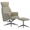 Kávészínű műbőr dönthető fotel lábzsámollyal