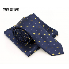 Kék alapon sárga kutyusos nyakkendő és díszzsebkendő nyakkendő