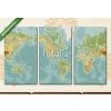 Képáruház.hu Premium Kollekció: Amerika központú fizikai világtérkép. Vintage szín. Nincs szöveg(125x70 cm, L01 Többrészes Vászonkép)
