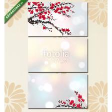 Képáruház.hu Premium Kollekció: Background with sakura branches in blossom on white glowing back(125x70 cm, L01 Többrészes Vászonkép) grafika, keretezett kép