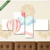 Képáruház.hu Premium Kollekció: clouds and balloon pink(125x70 cm, S02 Többrészes Vászonkép)