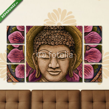 Képáruház.hu Premium Kollekció: Colorful Buddha Relief(135x80 cm, W01 Többrészes Vászonkép) grafika, keretezett kép