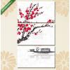 Képáruház.hu Premium Kollekció: Oriental sakura cherry tree in blossom and fishing boat in water(125x70 cm, L01 Többrészes Vászonkép)