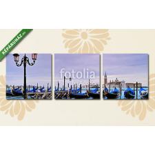Képáruház.hu Premium Kollekció: Venezia acqua alta, gondole(125x40 cm, B01 Többrészes Vászonkép) grafika, keretezett kép