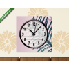 Képáruház.hu Vászonkép óra, Premium Kollekció: Nagy trópusi levél rózsaszín háttérrel(25x25 cm, C01)