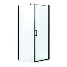 Kerra Lagos szögletes zuhanykabin alacsony tálcával, 79x79x195,5cm - fekete profil, víztiszta üveg fürdőszoba kiegészítő
