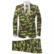Kétrészes férfiöltöny nyakkendővel terepszínű mintával 50-es méret