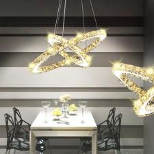 Kettős gyűrű LED függő kristály mennyezeti lámpa 23,6 W világítás