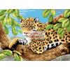 Kifestő készlet akrilfestékkel, ecsettel, gyerekeknek 11 éves kortól - 30x40 cm - Leopard a fán