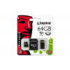 Kingston Memóriakártya, Micro SDXC, 64GB, Class 10, SD+USB adapterrel, KINGSTON
