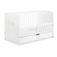 Klups Marsell kiságy leesésgátlóval és ágyneműtartóval 70x140 - fehér/bialy kiságy, babaágy