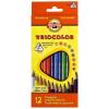 """KOH-I-NOOR Színes ceruza készlet, háromszögletű, KOH-I-NOOR """"Triocolor 3132/12"""", 12 különböző szín"""