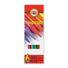 """KOH-I-NOOR Színes ceruza készlet, henger alakú, famentes, KOH-I-NOOR """"Progresso 8755/6"""", 6 különböző szín színes ceruza"""