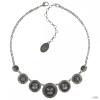 Konplott nyaklánc ékszer Collier Rivoli Concave fekete antique ezüst
