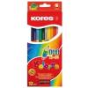 KORES DUO kétvégű színes ceruza, háromszögletű, 12 db/doboz