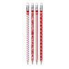 KORES Grafitceruza radírral, HB, háromszögletű, KORES, piros-fehér (IK92801)