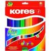 """KORES Színes ceruza készlet, kétvégű, háromszögletű, KORES \""""Duo\"""", 24 különböző szín [24 db]"""