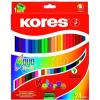 """KORES Színes ceruza készlet, kétvégű, háromszögletű, KORES """"Duo"""", 24 különböző szín"""