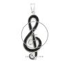 Kristály díszítésű violinkulcs (fekete)