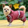 Kutyaruha, kapucnis vízálló esőkabát bordó, háthossz 32 cm