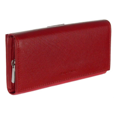 La Scala Fedeles, cipzáros aprós + kártyatartós piros bőr pénztárca La Scala