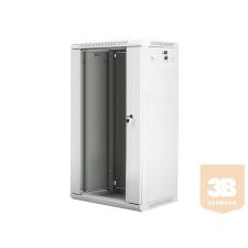 Lanberg 19'' fali rack szekrény 22U 600x450mm szürke (üvegajtó) szerver