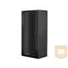 Lanberg 19'' fali rack szekrény 27U 600x450mm fekete (üvegajtó)