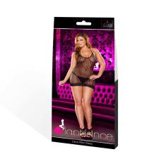 Lapdance Lace Plus Size - nyakpántos necc miniruha (fekete) fehérnemű szett