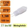 LED lámpa G4 (COB LED/1,3Watt/270°) meleg fehér