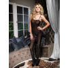 Leg Avenue 728208 OPAQUE BODY STOCKING W/SPAGHETTI STRAPS O/S BLK