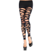 Leg Avenue Tattered Footless Tights - BLACK - O/S - HOSIERY