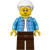 LEGO twn294 - LEGO Minifigura nagymama sötét azúr dzsekiben, barna lábbal fehér hajjal