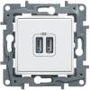 LEGRAND Valena Life kettős USB töltőaljzat beépített tápegységgel 5V 1500 mA (alumínium)