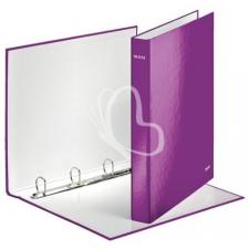 """Leitz Gyűrűs könyv, 4 gyűrű, D alakú, 40 mm, A4 Maxi, karton, lakkfényű, LEITZ """"Wow"""", lila kreatív papír"""