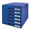 Leitz Irattároló, műanyag, 6 fiókos, LEITZ Plus, kék (E52120035)
