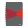 """Leitz """"Office"""" 90 lap A5 szürke-piros PP borító kockás spirálfüzet"""