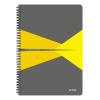 """Leitz Spirálfüzet, A4, kockás, 90 lap, laminált karton borító, LEITZ """"Office"""", szürke-sárga"""