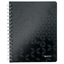 """Leitz Spirálfüzet, A5, kockás, 80 lap, LEITZ """"Wow"""", fekete füzet"""