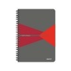 Leitz Spirálfüzet, A5, kockás, 90 lap, PP borító, LEITZ Office, szürke-piros